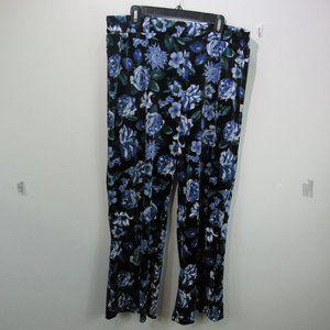 💕IMAN Women's blue floral velvet pants wide leg